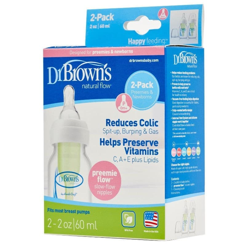 a4842ad2d14c Dr Browns Options Narrow Neck Feeding Bottle 60ml 2pk - Preemie Teat